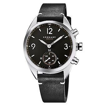Kronaby S3114-1 Men's Apex Smartwatch Black Leather