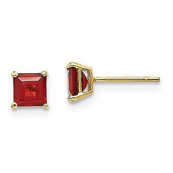 14k Yellow Gold Polished Garnet 4mm Square Post Earrings Jewelry Gifts for Women