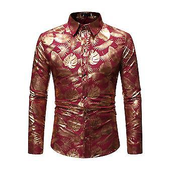 Allthemen Hombres's Camisa Shiny Gold Impreso Camisa de Manga Larga