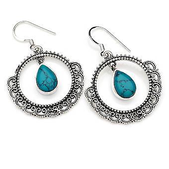 Orecchini orecchini argento 925 sterlina argento turchese pietra verde (No: MOH 124-15)