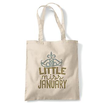 Little Miss January Tote | Happy Birthday Celebration Party Getting Older | Reusable Shopping Cotton Canvas Long Handled Natural Shopper Eco-Friendly Fashion