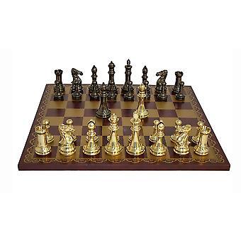 Conjunto del latón Staunton ajedrez tablero de cuero Burdeos y oro