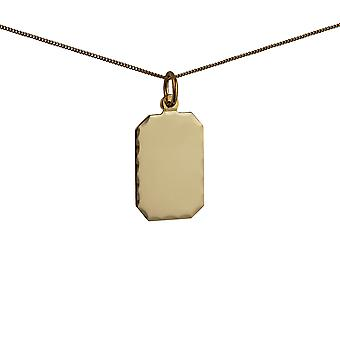 9ct Gold 18x12mm diamond cut edge rectangular Disc Pendant with a 0.6mm wide curb Chain 20 inches