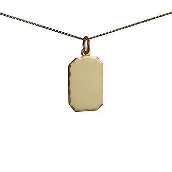 זהב 18x12mm יהלום מלבני לחתוך מרובע דיסק עם שרשרת 0.6 מילימטר רחב לרסן 20 אינצ'ים