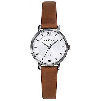 Horloge Certus 644434-grijs stalen armband leer bruin vrouwen