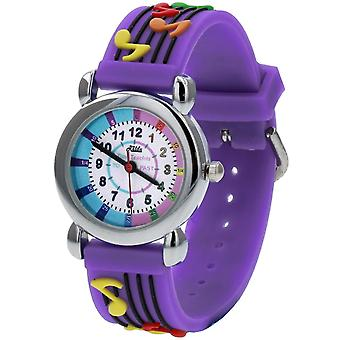 Relda Girl's-Children Time Teacher 3D Musical Notes Silicone Strap Watch + Telling The Time Award