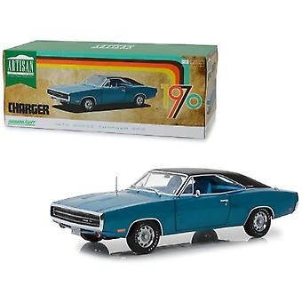 1970 Dodge Charger 500 Blue With Black Top 1/18 Diecast Model Car By Greenlight