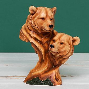 Widdop Bingham Wood Effect Resin Figurine-two Bear Heads