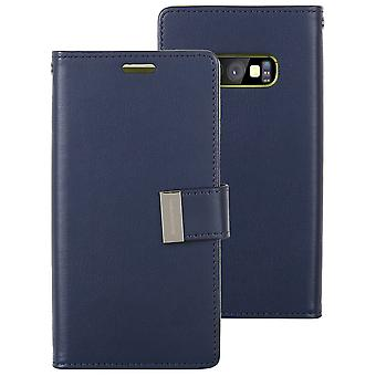 For Samsung Galaxy S10e Case, Navy Blue Horse Texture Leather Wallet Flip Cover