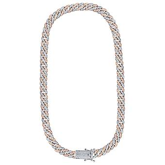 925 Sterling Silver Two Tone Mens CZ Cubic Zirconia Simulated Diamond Miami Curb Chain 9mm 22 Inch Jewelry Gifts for Men
