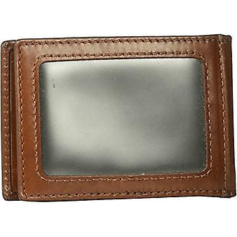 Fossil Men's Hugh Leather RFID Blocking Money Clip Bifold, Cognac, Size One Size