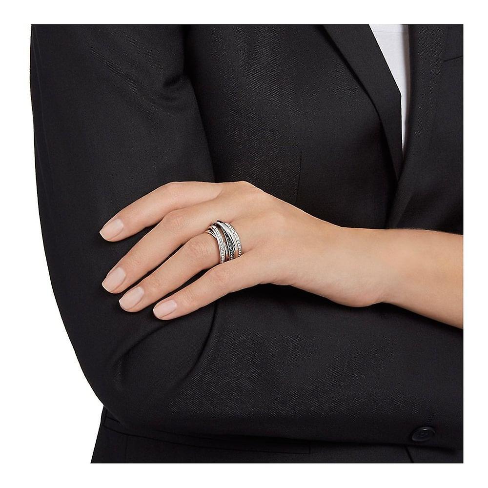 Swarovski Dynamic Rhodium Plated & Clear Crystal Wide Ring