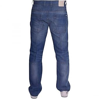 Crosshatch Mens Branded Designer Straight Leg Multi Pocket Denim Jeans
