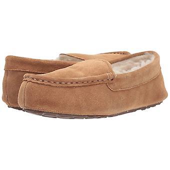 Amazon Essentials Women's Leather Moccasin Slipper, Chestnut, 6 M US