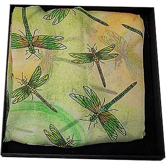 Silk Chiffon Dragonfly Collection Scarf by Ladycrow Scotland - Lime
