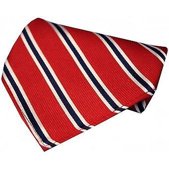 David Van Hagen Striped Silk Handkerchief - Red/White/Blue