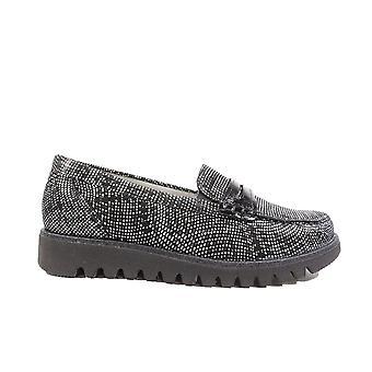 Waldläufer Habea 926504 200 001 Black/White Spotted Nubuck Leather Womens Slip On Loafer Shoes