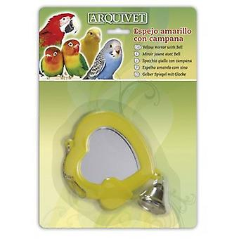 Arquivet Yellow Mirror With Hood 10,5X9X1 Cm (Birds , Bird Cage Accessories , Mirrors)