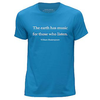 STUFF4 Men's Round Neck T-Shirt/William Shakespeare Quote/Blue