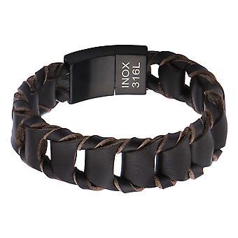 Men's Big Fold Braided Brown Leather Bracelet