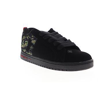 DC Court Graffik SE  Mens Black Leather Low Top Skate Sneakers Shoes