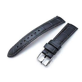 Strapcode crocodile grain watch strap 20 or 22 mm crococalf (croco grain) dark grey semi-curved watch strap, grey stitching, p
