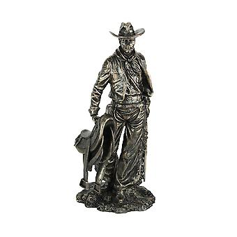 Bronze Finished Western Cowboy With Saddle and Rifle Decorative Statue