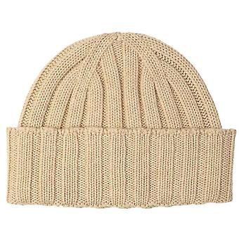 Johnstons of Elgin Seamless Chunky Ribbed Cashmere Beanie - Natural Beige