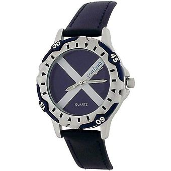 YESS Ladies Scotland Scottish Flag Dial Navy Blue Leather Strap Watch BOXX356