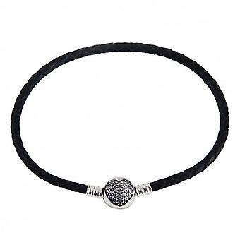 Woven Leather Charm Bracelet With Zirconia Heart Clip - 4326