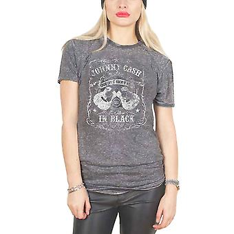Johnny Cash T Shirt The Man In Black Logo Officiële Womens Charcoal Grey Burn Out