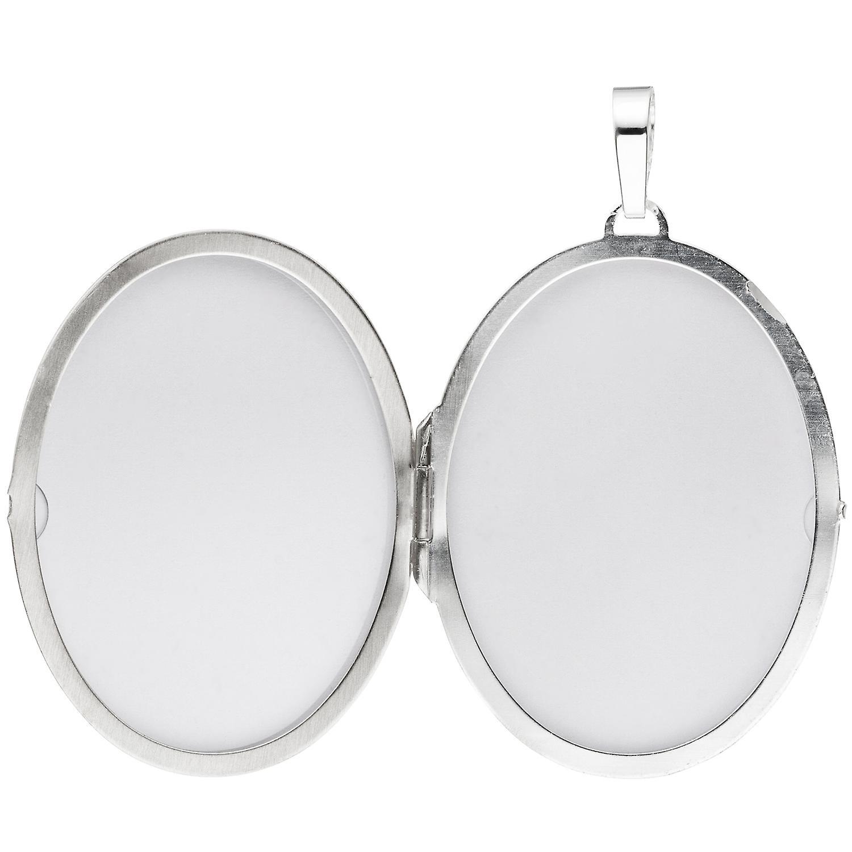 Damen Medaillon oval 925 Sterling Silber mattiert geschwärzt Anhänger zum Öffnen