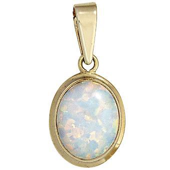 Naisten riipus soikea 333 kultaa keltainen kulta 1 opaali kultainen riipus
