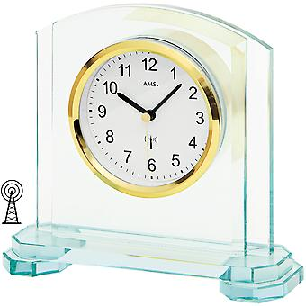 5147 table clock radio radio table clock analogue modern AMS with glass and aluminium