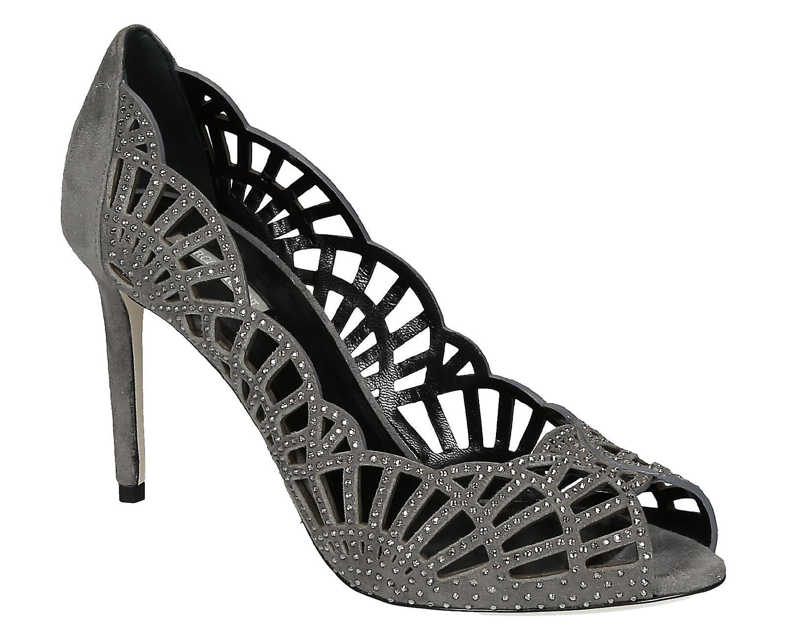 Giorgio Armani grey suede leather heels pumps open 40