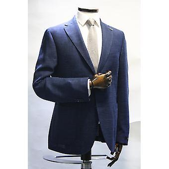 Edward Navy Blue & White Textured Jersey Blazer