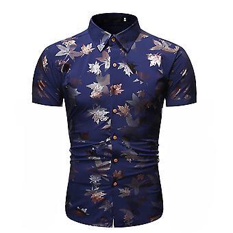 Allthemen Mænd's Bronzing Blad Trykt Komfortabel kortærmet skjorte