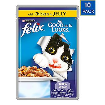 10 x 100g Felix Cat Food Chicken in Jelly Healthy Food Tasty