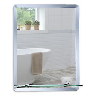 Specchio a parete rettangolare con ripiano 70 x 50 cm