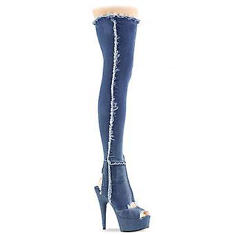 Pleaser Dames Laarzen DELIGHT-3030 Denim Blue Str Stof