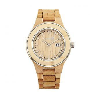 Tierra madera Cherokee pulsera reloj w/magnifica fecha - caqui/Tan