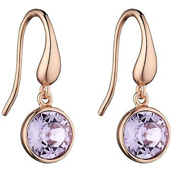 Elements Silver Round Drop Earrings - Rose Gold/Violet Purple