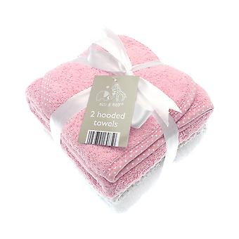 Elli & Raff 2 Pack Hooded Baby Towels, Pink and White