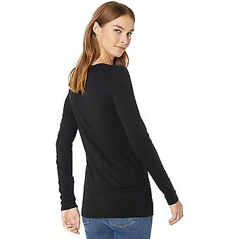 Lark & Ro Dame+s Jersey Pima Bomull/Modal Scoop Hals Langermet T-skjorte, Svart, X-Liten