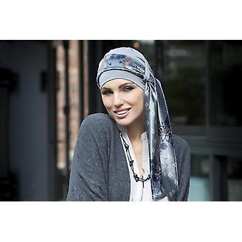 Hoofdsjaals voor kankerpatiënten | Yanna Grey Velvet Blu Fiori