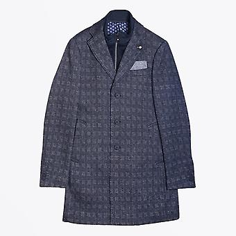 Blue Industry  - Wool Checked Overcoat - Navy