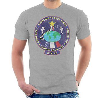 NASA STS 86 Atlantis Mission Badge Distressed Men's T-Shirt