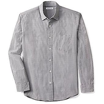 Essentials Men&s Regular-Fit Long-Sleeve Casual Poplin Shirt, Czarny Mini-Gingham, XX-Large
