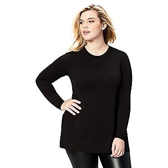 Marca - Daily Ritual Women's Plus Size Long-Sleeve Split-Hem Tunic, Preto, 2X