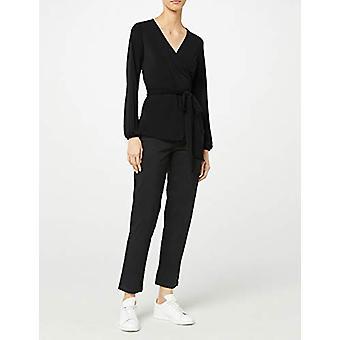 Meraki Women's Crepe Wrap Top, Black, EU XL (US 12-14)